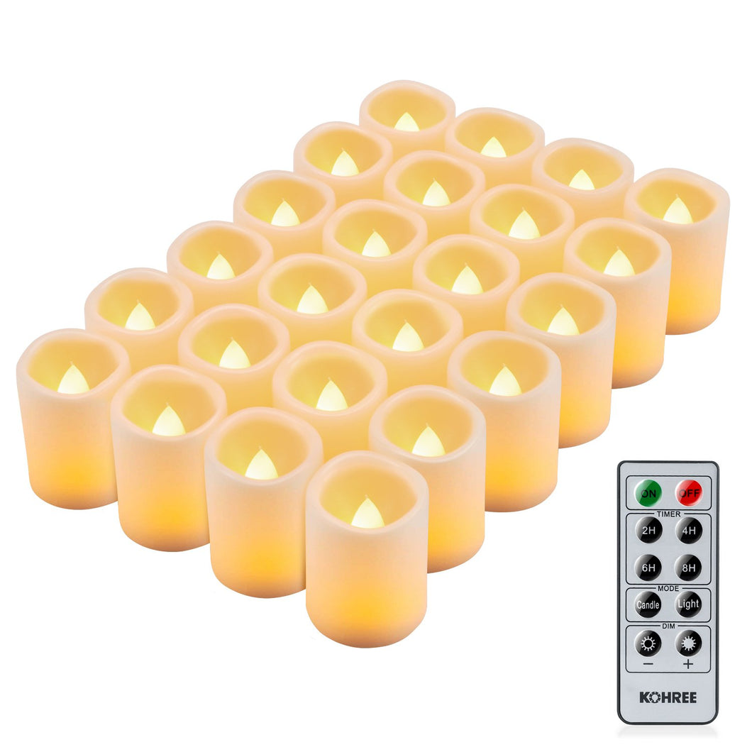 Kohree LED Votive Unscented Battery Powered Candles Set of 24, with Remote Control Timer - kohree