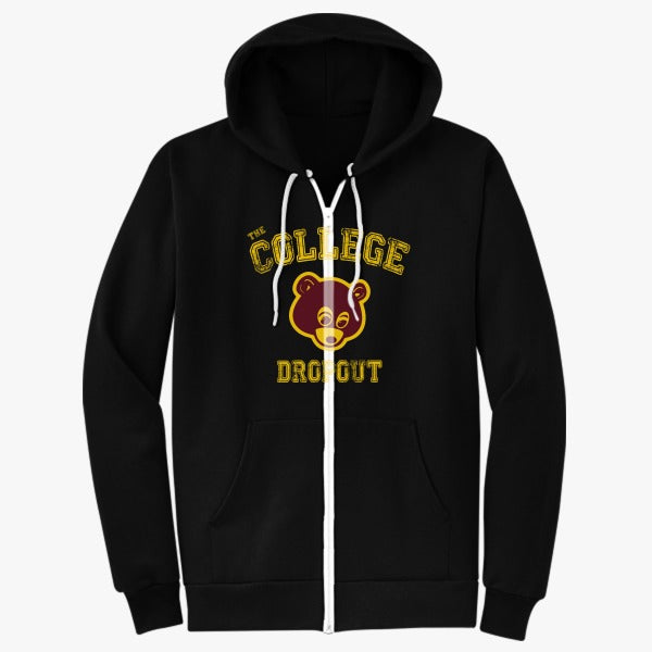 Bear College Dropout Unisex Zip Up Hoodie Hoodiego