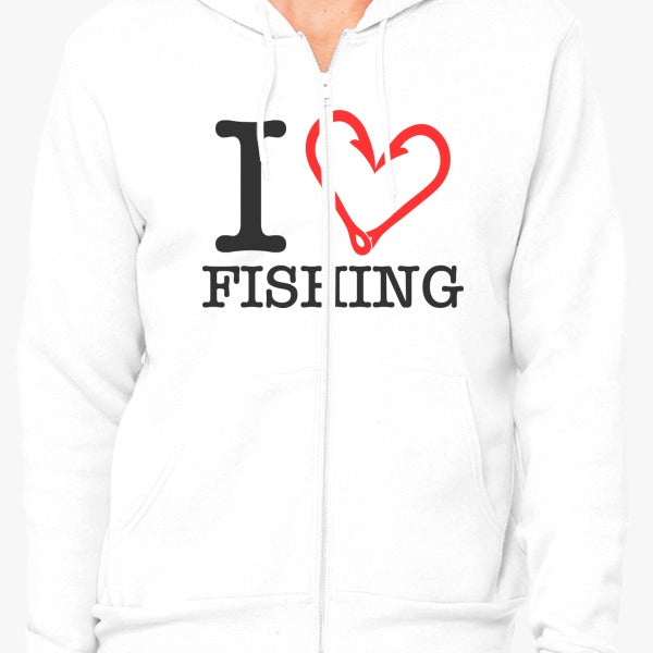 I Love Fishing Zip Hoodie