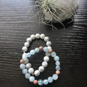 Howlite and Aquamarine bracelet combo