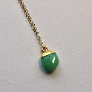 Rocky drop necklace - Chrysoprase