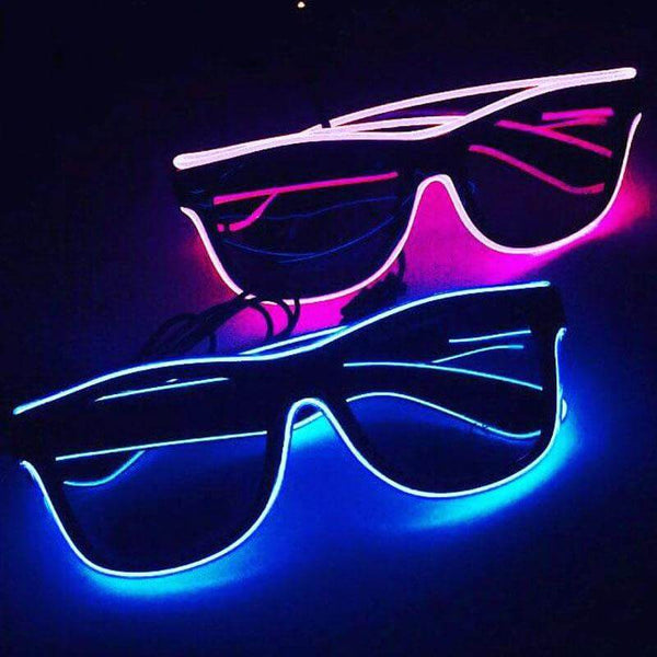 blue and purple rave glasses