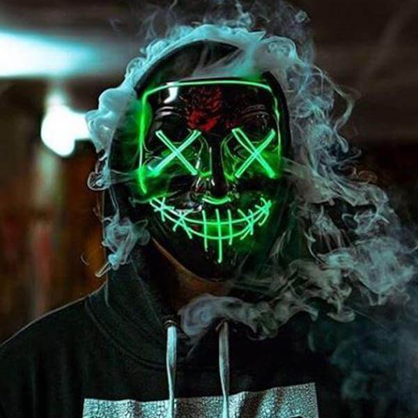 guy with smoke coming out of him light up purge mask