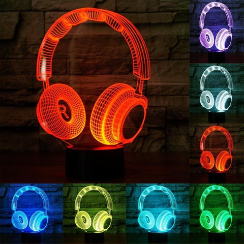 All For Hobbies 3D Headphones Lamp