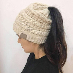 All For Hobbies Beige Ponytail Beanie