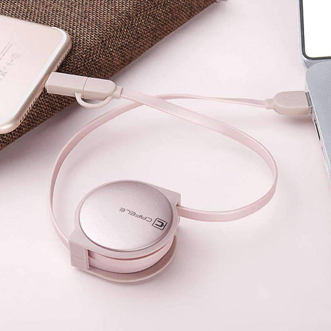 All For Hobbies 2 in 1 Retractable USB Charging Cable