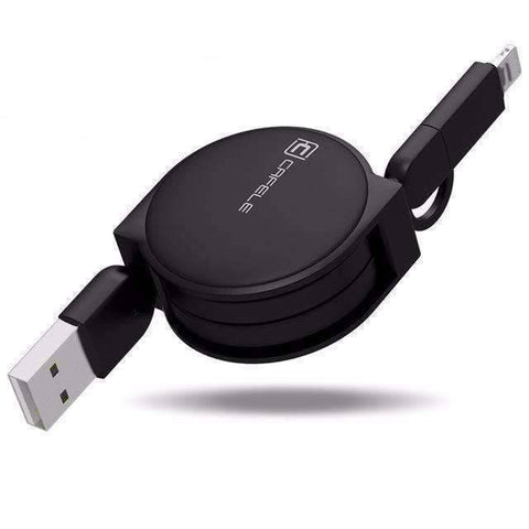 All For Hobbies Black 2 in 1 Retractable USB Charging Cable