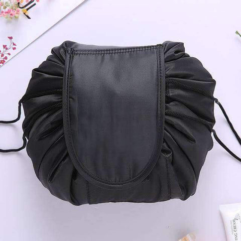 Image of black drawstring makeup bag