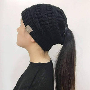 All For Hobbies Black Ponytail Beanie
