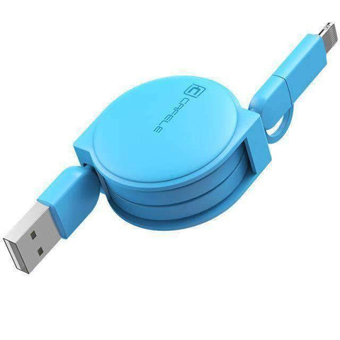 All For Hobbies Blue 2 in 1 Retractable USB Charging Cable