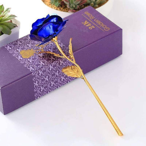 Image of All For Hobbies Blue 24k Gold Rose
