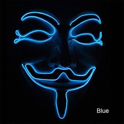 All For Hobbies Blue Guy Fawkes Mask (Anonymous LED Mask)