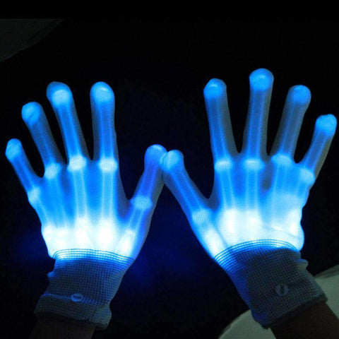 All For Hobbies Blue LED Skeleton Gloves