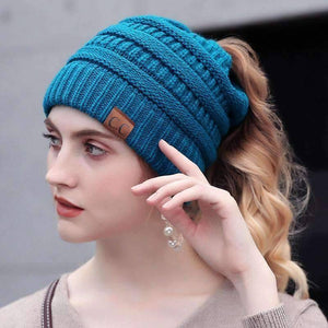All For Hobbies Blue Ponytail Beanie