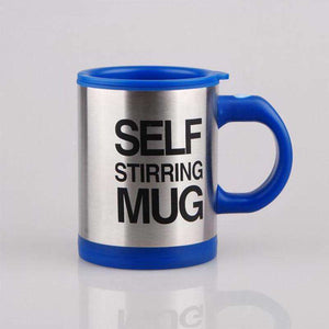 blue colored self stirring coffee mug