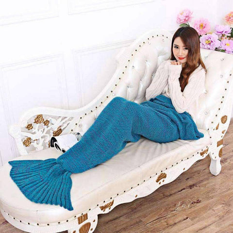 Image of All For Hobbies Blue / Small Knitted Mermaid Tail Blanket