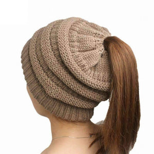All For Hobbies Brown Ponytail Beanie