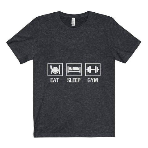 All For Hobbies Dark Grey Heather / XS Eat Sleep Gym Tee