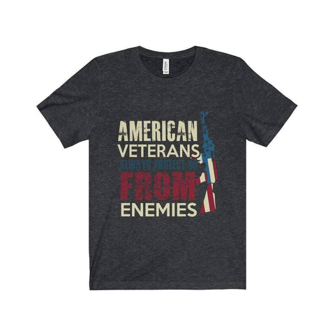 All For Hobbies Dark Grey Heather / XS Veteran's Always Protect Us Tee