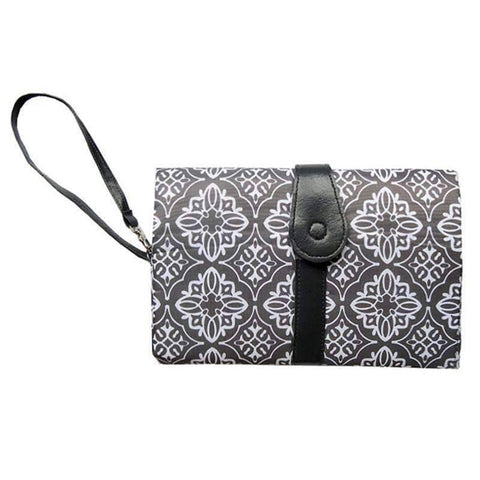 All For Hobbies Gray floral Diaper Clutch