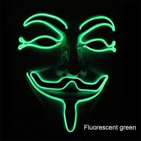 All For Hobbies Green Guy Fawkes Mask (Anonymous LED Mask)