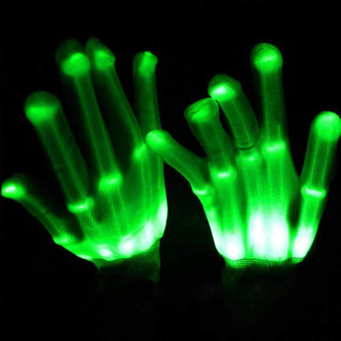 All For Hobbies Green LED Skeleton Gloves