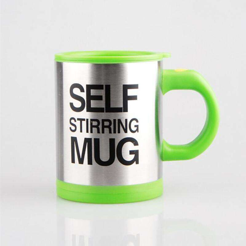 green colored self stirring coffee cup