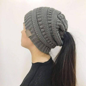 All For Hobbies Grey Ponytail Beanie