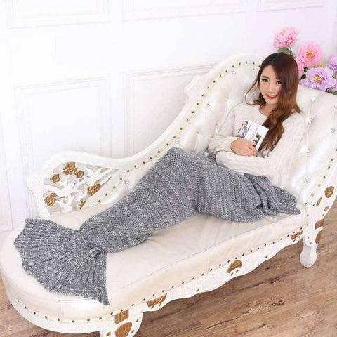 Image of All For Hobbies Grey / Small Knitted Mermaid Tail Blanket