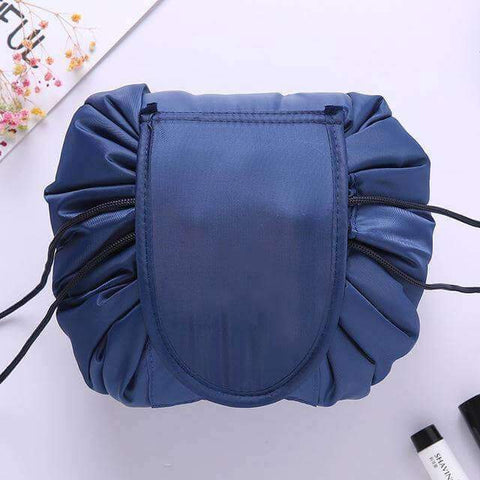 Image of Navy blue drawstring makeup bag