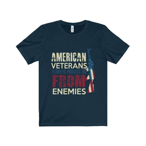 All For Hobbies Navy / XS Veteran's Always Protect Us Tee