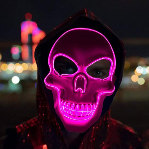 All For Hobbies Pink LED Skull Mask