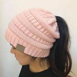 All For Hobbies Pink Ponytail Beanie
