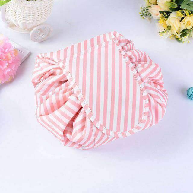 pink striped drawstring makeup bag