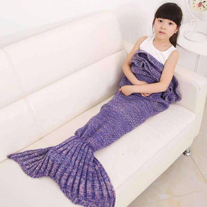 All For Hobbies Purple / Small Knitted Mermaid Tail Blanket