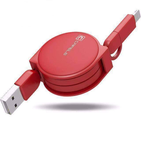 All For Hobbies Red 2 in 1 Retractable USB Charging Cable