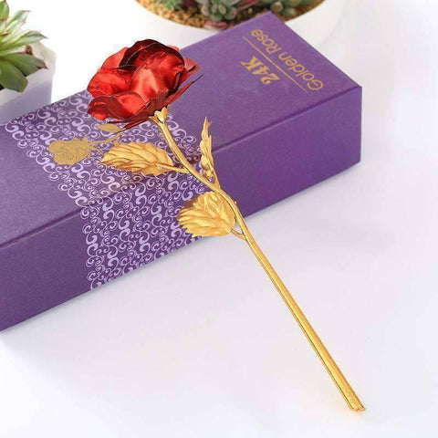 All For Hobbies Red 24k Gold Rose