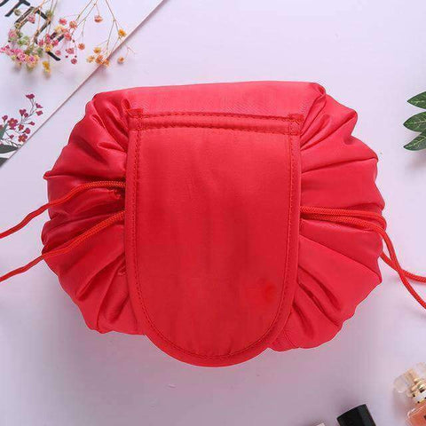 Red drawstring makeup bag
