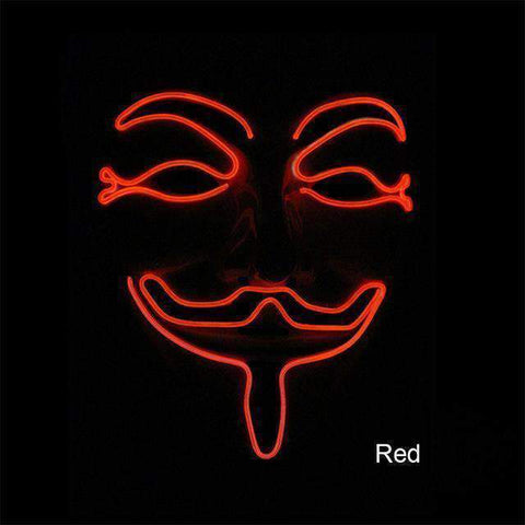 All For Hobbies Red Guy Fawkes Mask (Anonymous LED Mask)