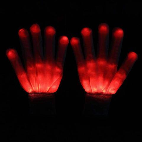 All For Hobbies Red LED Skeleton Gloves