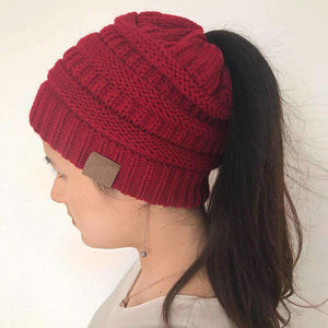 All For Hobbies Red Ponytail Beanie
