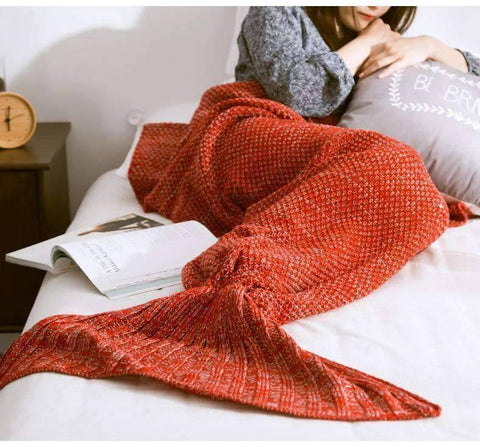 Image of All For Hobbies Red / Small Knitted Mermaid Tail Blanket