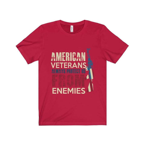 All For Hobbies Red / XS Veteran's Always Protect Us Tee