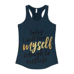 All For Hobbies Solid Midnight Navy / XS Love Myself Enough To Exercise Tank