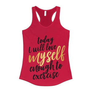 All For Hobbies Solid Red / XS Love Myself Enough To Exercise Tank