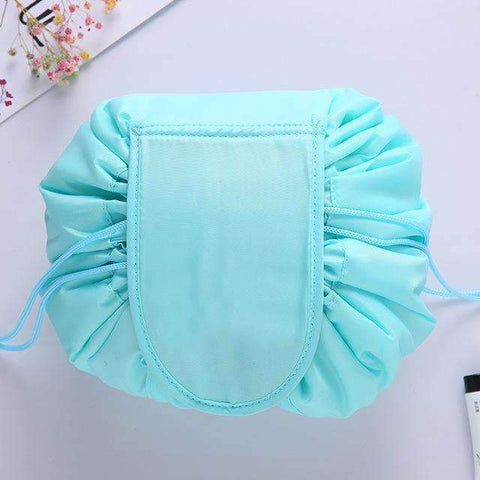 Turquoise drawstring makeup bag