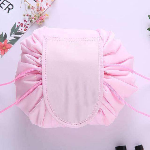 Pink drawstring makeup bag