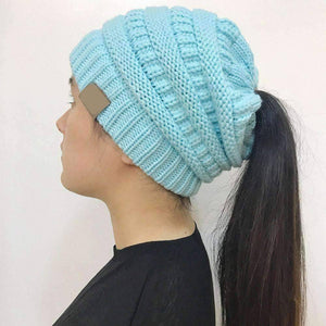 All For Hobbies Turquoise Ponytail Beanie