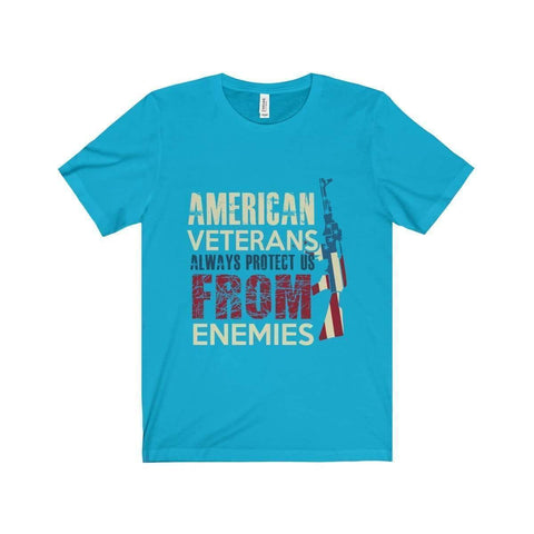 All For Hobbies Turquoise / XS Veteran's Always Protect Us Tee