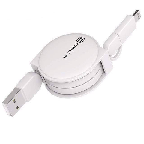 All For Hobbies White 2 in 1 Retractable USB Charging Cable